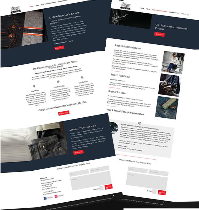 JME Custom Jeans Customised Website Design